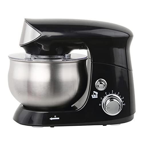 Robot de cocina multifunción de 6 marchas, 600 W, con cuenco de acero inoxidable de 3,5 l, amasadora, batir, con diseño antideslizante, color negro