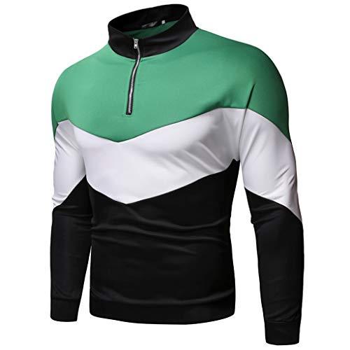 ODRD Herren Patchwork Sweatshirt Beiläufige Art Weise Pure Farbe Reißverschluss Revers Sweatshirts Lange Ärmel Hoodie Pullover Hooded Sweater
