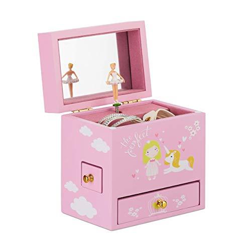Relaxdays Schmuckkästchen Mädchen, tanzende Ballerina, Schmuckbox mit 3 Schubladen, Motiv Prinzessin und Einhorn, rosa, Größe