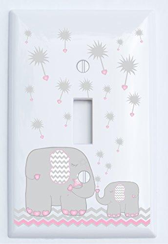Single Toggle Pink and Grey Dandelion Elephant Light Switch Plates Covers / Elephant Nursery Decor (Pink Dandelion Elephant Switch Plate)