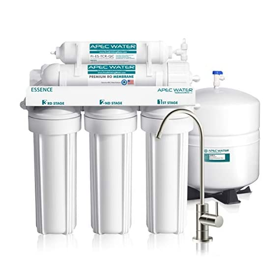 APEC Water Systems ROES-50 Essence Series Top Tier 5-Stage Certified Ultra Safe Reverse Osmosis Drinking Water Filter… 1 Supreme quality - designed, engineered, and assembled in USA to guarantee water safety & your health. Only technology to remove up to 99% of contaminants such as chlorine, taste, odor, VOCs, as well as toxic fluoride, arsenic, lead, nitrates, heavy metals and 1000+ contaminants. Max Total Dissolved Solids - 2000 ppm. Feed Water Pressure 40-85 psi WQA Certified System. Premium long-lasting filters used to treat tap water, well water. Provide unlimited clean, refreshing crisp tasting water superior to bottled water