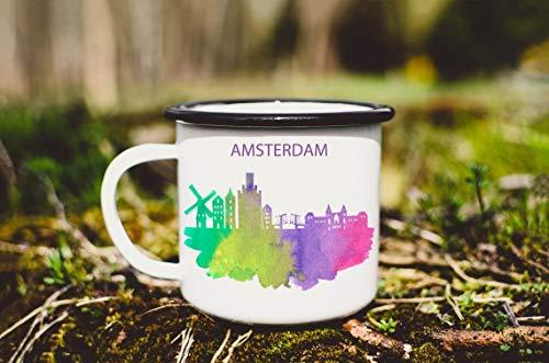 Emaille Mok 10oz Metalen Kamp Mok Emaille Mok Amsterdam City Kamp Mok Watercolor Amsterdam Koffie Mok Tin Cup Nederland Mok Thee Cup Reizen Souvenir Mok (Zwarte Rand)