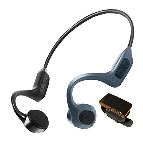 HWZZ Audífono De Conducción Ósea para Audífonos De TV De Oreja Abierta con Bluetooth, Inalámbricos con Transmisor De Captación De Sonido para Personas Mayores,Azul