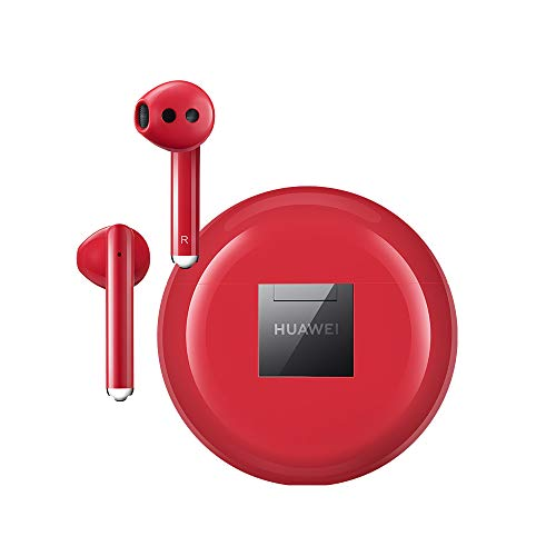 HUAWEI FreeBuds 3, Auricolari Wireless con Cancellazione Intelligente del Rumore, Kirin A1 Chipset, Latenza Bassa, Connessione Bluetooth Veloce, 14 mm Speaker, Carica Wireless Veloce, Rosso