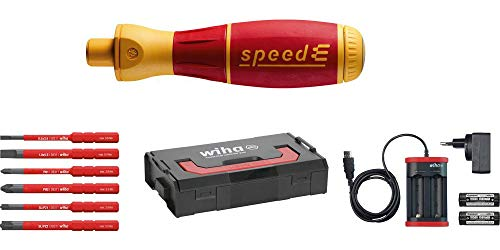 Wiha elektrischer Schraubendreher speedE Set 1 (41911), 10 tlg., E-Schraubendreher für Elektriker, mit Akku + L-Boxx + Bits + Batterien + Ladegerät EU, Schlitz/ Phillips/ Pozidriv PlusMinus (SL/PZ)