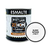 Pintura Blanco Satinado Interior / Exterior / Multisuperfie para azulejos baño cocina , madera, puertas, metal, radiadores, muebles, ceramica / Esmalte sintentico en 375 ml