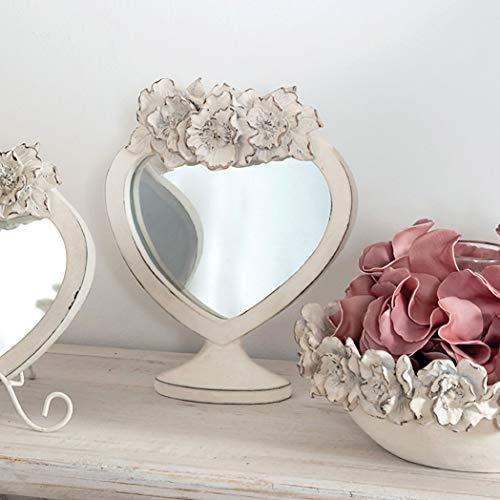 CdCasa Standspiegel Herz Form, Tischspiegel, Dekospiegel Herz, Schminkspiegel, Kosmetikspiegel Vintage Landhaus Shabby - Blumen - 16x20 - Antik Hell Elfenbein