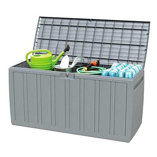 Garden House Garage 91 Arcón para Exterior 270 litros de Resina Gris 117x45,5x57cm GH91