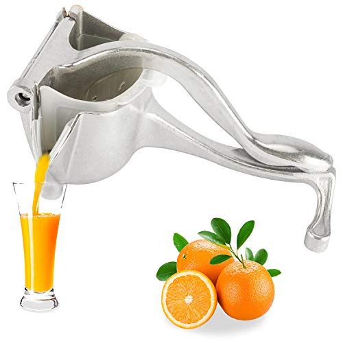 Homend Heavy Duty Single Press Aluminium Lemon Squeezer, Hand Press Fruit Juicer, Manual Press Juicer ( High Quality Silver)