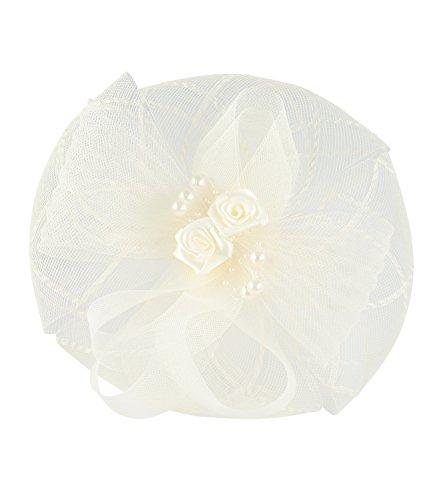 SIX Creme-Weißer Fascinator Haarreif mit Tüll und Satin-Stoff Perlen Rosen Hochzeits Schmuck (315-650)