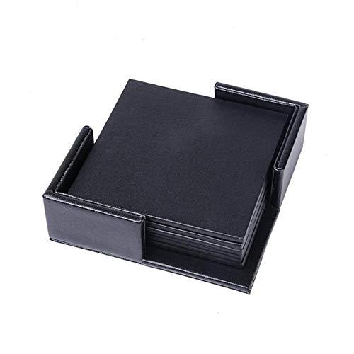 Houer 6 STKSPU Leer Marmeren Onderzetter Drinken Koffiekopje Mat Thee Pad Eettafel Placemats Tafel Zwart Wit Chique Decoratie, pure vierkante