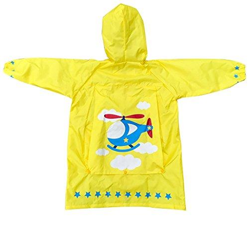 Vestes anti-pluie QFF Child Raincoat Boys and Girls Big Hat Student Sac de Livres pour bébés Poncho (Couleur : Le Jaune, Taille : M)