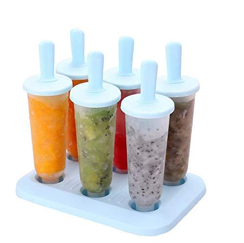 Queta Eisform-Set Kreative EIS am Stielform/Eisbox, Eisbox und einfachem Eisform-Set erhältlich. Die 6 Eisformen sind rund blau.