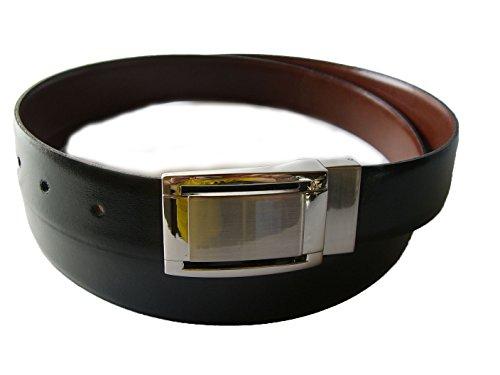 Yojan Piel Cinturon De Piel Reversible Negro y Marron (115)   Cinturon elegante para vestir en Bodas y Eventos Formales   Cómodo y ajustable