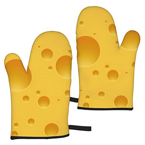 BONRI Swiss Cheese edam maasdam Guanti per microonde Un Set Set di 2 Guanti da Forno, Resistenti al Calore, Ideali per cuocere al Forno, Grigliare, Barbecue
