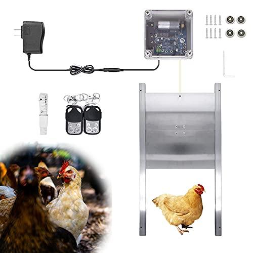 EUNEWR kit abrepuertas gallinero,puerta automática para gallinero con Temporizador y sensor de luz,puerta de gallinero automática 2 controles remotos,tipo eslinga con 4 ruedas de polea para jaulas