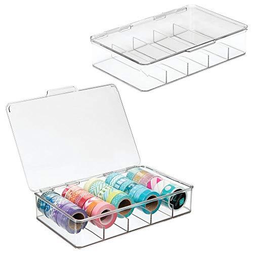 mDesign Organizador de manualidades – Fantástica caja de plástico con 5 compartimentos...