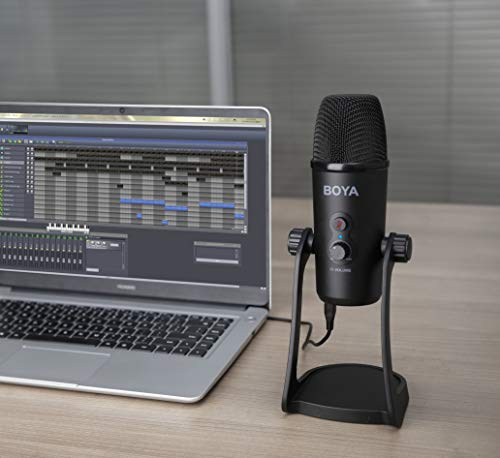 Boya BY-PM700 USB Computer Microphone for Vlog Conference Live, Condenser Microphone with Flexible Polar Pattern for Windows and Mac Tablet Recording Interview Vlog Game Podcast and Youtube