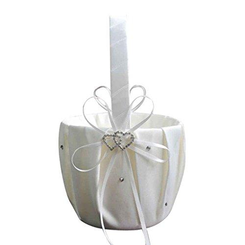 Masterein Remedios Ivory Satin Strass 2 Herzen Hochzeit Blumen-Mädchen-Korb für Hochzeit Weiß
