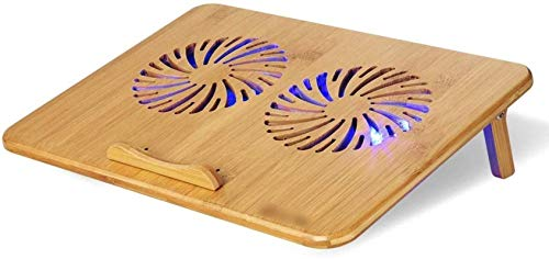 """HZWLF Bamboo Color Laptop Stand, Laptop Cooling Pad, Adjustable Speed, Cooling Stand With Fans Bamboo Structure, For Laptops Between 10"""" 17.3"""", Two USB Port"""