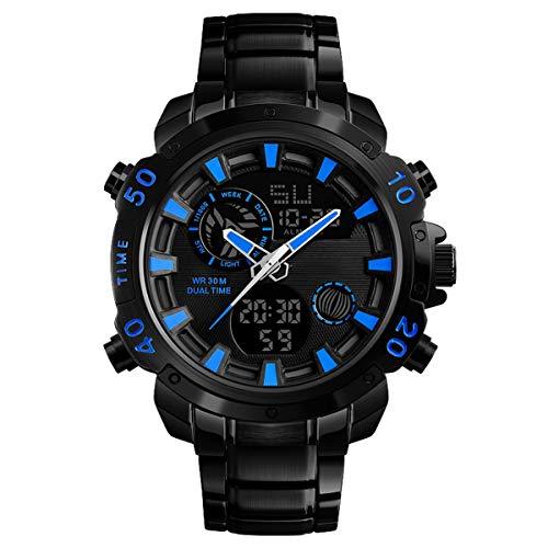 XIGG Digitale Horloge Mannen Outdoor Sport Waterdichte Polshorloge, voor Zwemmen Duiken met Stopwatch 12/24 Uur Formaat LED Scherm Groot Gezicht Blauw