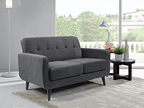 WeDoSofas Grey Sofa Fabric 2 Seater - New, Charcoal Grey, Wooden Legs