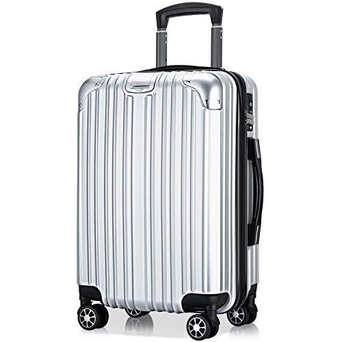 VARNIC スーツケース キャリーバッグ キャリーケース 機内持込 超軽量 大型 静音 ダブルキャスター 耐衝撃 360度回転 TSAローク搭載 ファスナー式 旅行 ビジネス 出張 (S サイズ(40.5L/機内持込), 銀)