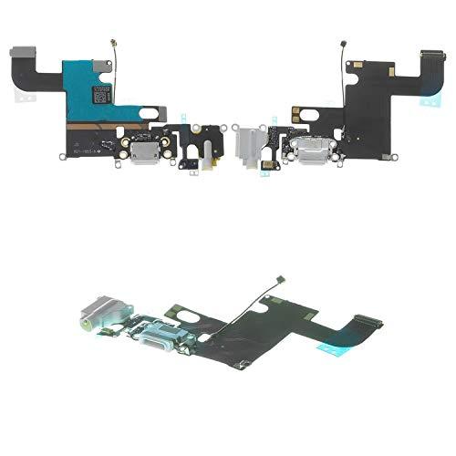 Cable plano compatible con iPhone 6, (conector de auriculares, conector de carga, blanco, con micrófono, componentes AAA)