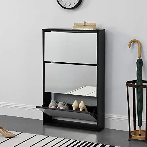 [en.casa] Zapatero con Espejo 102,5 x 63 x 17cm con 3 Compartimentos de Almacenamiento Mueble Zapatero Organizador de Zapatos Negro