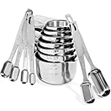 Stainless Steel Measuring Cups and Spoons Set By Vita Saggia; Elegant Kitchen Measuring Set - Features 6 Narrow and Stackable Spoons and 7 Nesting Cups for Easy Storage for Dry and Liquid Ingredients