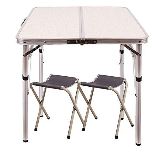 """MQQ Außen Kleiner Klapptisch Einstellbare Höhe 23.6 """"x15.7"""" X10.2 """"/ 19"""", beweglicher wildes Campen selbstfahr Tour Grill Ausstellungstisch (Color : Table+2 stools)"""