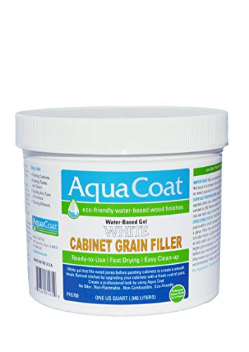 Aqua Coat, Best White Cabinet Wood Grain Filler, White Gel, Water Based, Low Odor, Fast Drying, Non Toxic, Environmentally Safe (Quart)