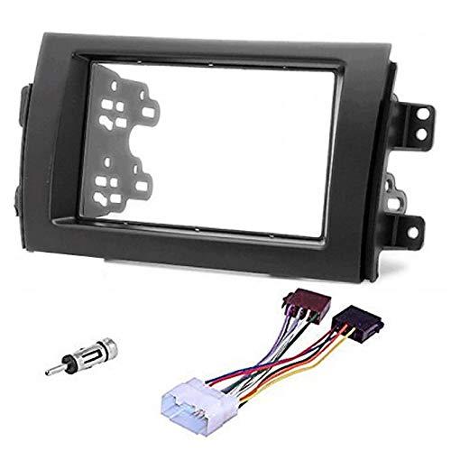 Sound-way 2 DIN Radiopaneel Frame Autoradio met Montagebeugels, Antenne Adapter, ISO Aansluitkabel, ondersteuning voor Fiat Sedici 16, Suzuki SX4