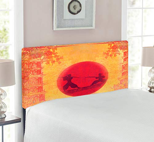 Ambesonne Japanese Headboard, Warrior Ninjas at Sunset Between Building Flowers  Theme Japanese Print, Upholstered Decorative Metal Bed Headboard with Memory Foam, Twin Size, Mustard and Purple