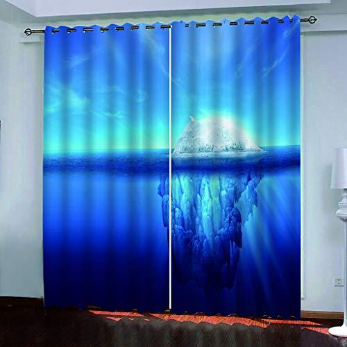 Cortina Ojales Opaca Termica para Moderno Habitación Salón Dormitorio - Oso polar solitario (proteger el medio ambiente) Tema 3D - Cortinas opacas 100% poliéster - 2 x 116cm x 182 cm (W x L)