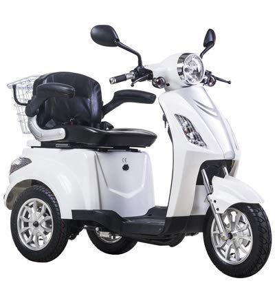 Scooter elettrico, veicolo,scooter per anziani ed disabili, Senior, Triciclo, Z-Tech Trilux ZT-15-B con Differenziale 500 W 25 km/h - Bianco-