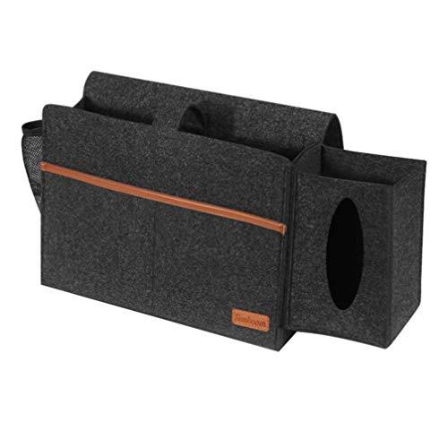 Cabilock Felt Bedside Bag Mattress Sofa Table Bed Storage Caddy Tissue Dispenser Holder Hanging Sundries Organizer for Home Dark Grey