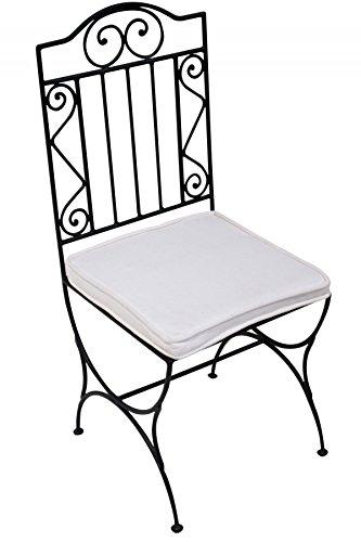ORIGINAL Orientalischer Stuhl Gartenstuhl aus Metall Schwarz Bilbao   Marokkanischer Balkonstuhl Inkl. Sitzkissen Stuhlkissen   Eisenstuhl als Bistrostuhl   Mediterrane Deko im Garten oder Balkon