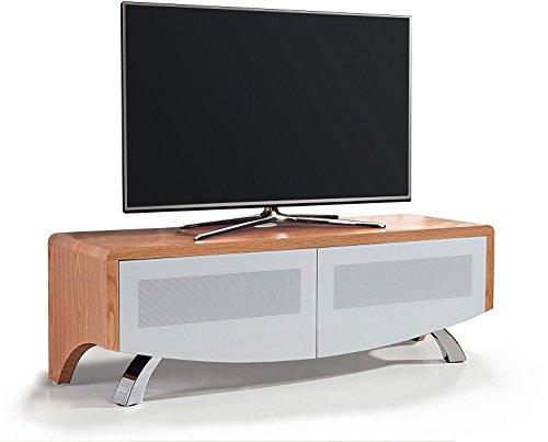 MDA Designs WAVE 1200 Meuble TV à écran plat en chêne avec verre blanc hybride BeamThru compatible avec télécommande 32\