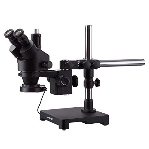 AmScope 3.5X-180X Black Trinocular Stereo Zoom Microscope on Single Arm Boom Stand + 144 LED Compact Ring-Light