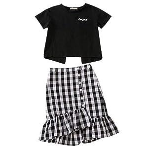 [チューカー] 子供服 親子服 2点セット 無地シャツ 半袖 tシャツ カットソー バックレス 上下セット マーメイドスカート 格子縞 前ボタン 裾フレア 膝丈 イレギュラー セットアップ ママ 娘 お揃い ブラックL