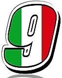 Biomar Labs® Número 9 Bandera de Italia Nacional Italy Calavera Vinilo Adhesivo Pegatina Coche Auto Motocross Moto Sport Start Racing Tuning N 319