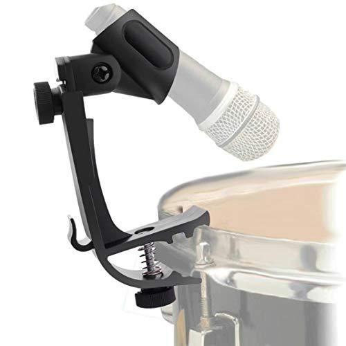 YSHTAN Microfoon Houder Orkestrale Instrument Microfoon Houder 2 Stks Pro Verstelbare Clip Op Drum Rim Schokdemper Mount Microfoon Mic Klem Houder - Zwart