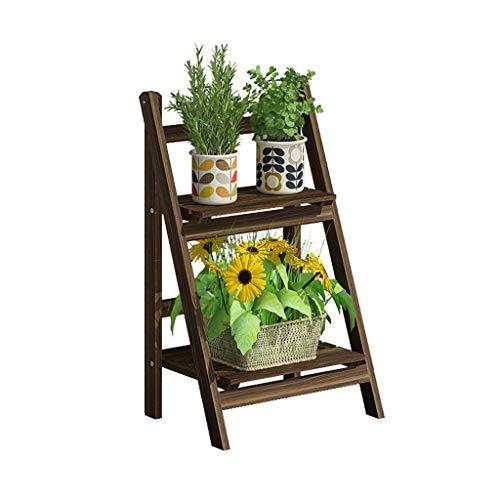 Étagère de rangement pour le stand de plantes Jardinière avec support à plantes en bois sur deux étages avec balcon Jardin Terrasse simple présentoir de fleurs La touche décorative parfaite à n'import