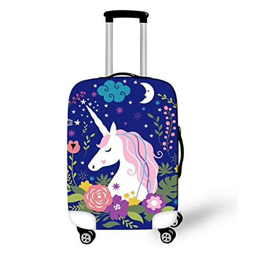 OSVINO Cartoon Cute Unicorn Luggage Cover Durable Elastic Travel Suitcase Protector, Unicorn E, M(for 22'-25' Luggage)