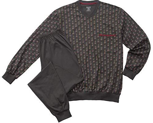 CiTO by Esge Herren Pyjama Schlafanzug V-Ausschnitt anthrazit Gemustert S - XXL, Grösse:S - 4-48, Farbe:anthrazit