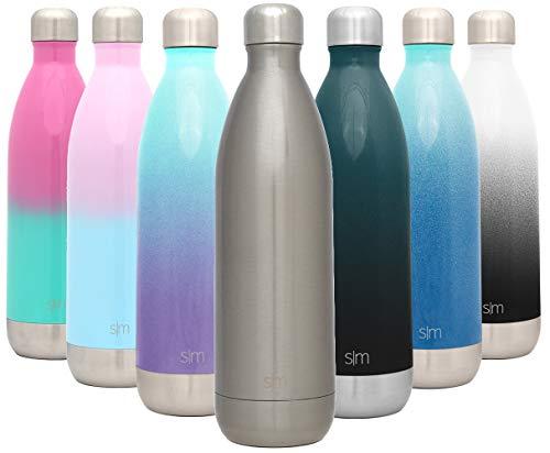 Simple Modern Wave 1ml Termo Botella Agua Acero Inoxidable, Botella termica Mantiene el Frio por 28 Horas Aislada al Vacío Doble Pared para Deporte café o Viaje Dos Tonos: Luz de la Luna