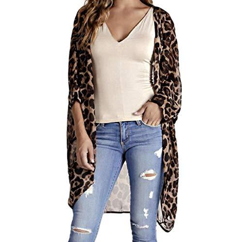 SHOBDW Leopard Cardigan Lang Damen Strickjacke Mode Frauen Strickdruck Langarm Strickjacke T-Shirt Tops Pullover Mantel Langärmelige Cardigan mit Leopardenmuster Große Größen Damen Oberteile