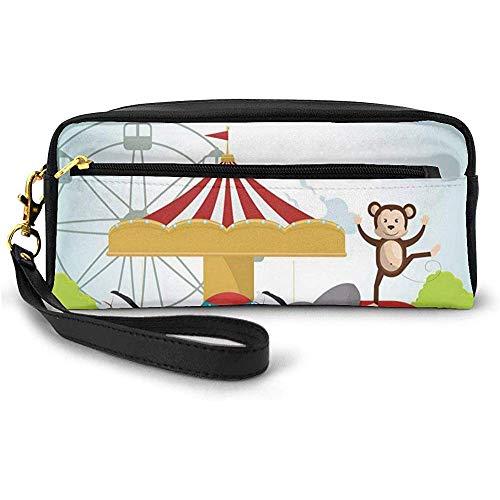 AFFE und Elefant in einem Zirkus-Freizeitpark Festliche Kostüme Details Feier Kleine Schminktasche Federmäppchen 20cm * 5,5cm * 8,5cm