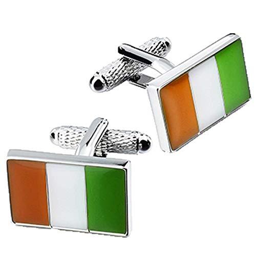 Drapeau Irlande-Boutons de manchette drapeau de l'Irlande en Onyx Art Boutons de manchette en forme de boîte
